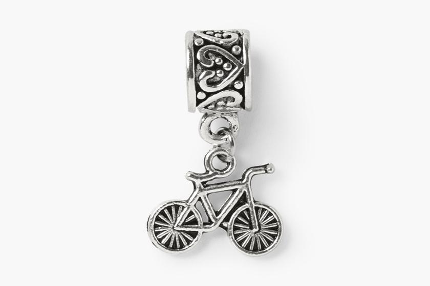 baby gooroo breastfeeding milestone charm bracelet silver bike charm