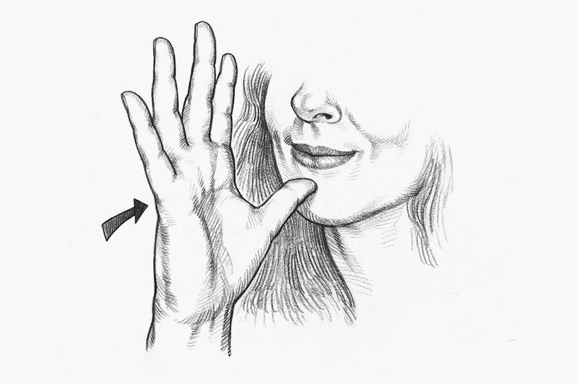 Sign language rubbing chest